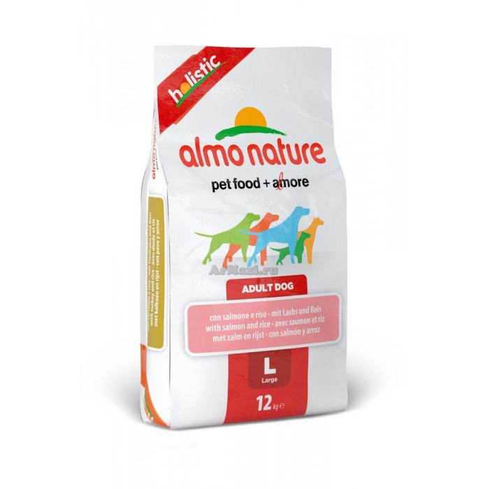 Almo Nature для взрослых собак крупных пород с лососем, масса 12 кг., zt90218, Almo Nature